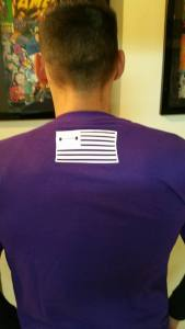 Pictured: Back flag placement (default on all sleeveless)