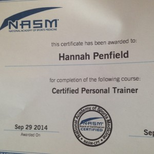 Personal Trainer Cert Hannah